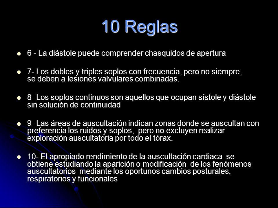 10 Reglas 1- El Primer ruido es simultáneo al pulso carotídeo. Debe identificarse como primer paso obligado de la auscultación cardiaca. 2- El Segundo
