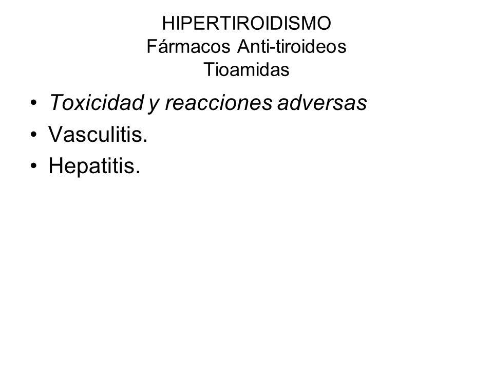 HIPERTIROIDISMO Fármacos Anti-tiroideos Tioamidas Toxicidad y reacciones adversas Vasculitis. Hepatitis.
