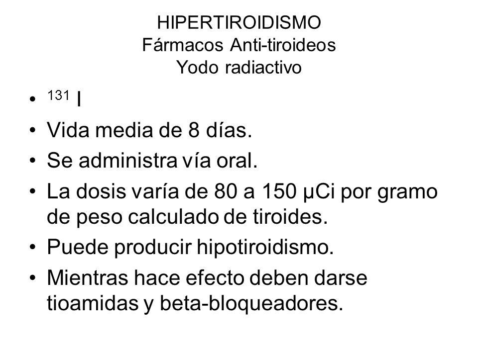 HIPERTIROIDISMO Fármacos Anti-tiroideos Yodo radiactivo 131 I Vida media de 8 días. Se administra vía oral. La dosis varía de 80 a 150 μCi por gramo d