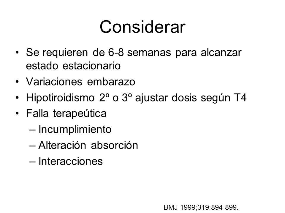 Considerar Se requieren de 6-8 semanas para alcanzar estado estacionario Variaciones embarazo Hipotiroidismo 2º o 3º ajustar dosis según T4 Falla tera