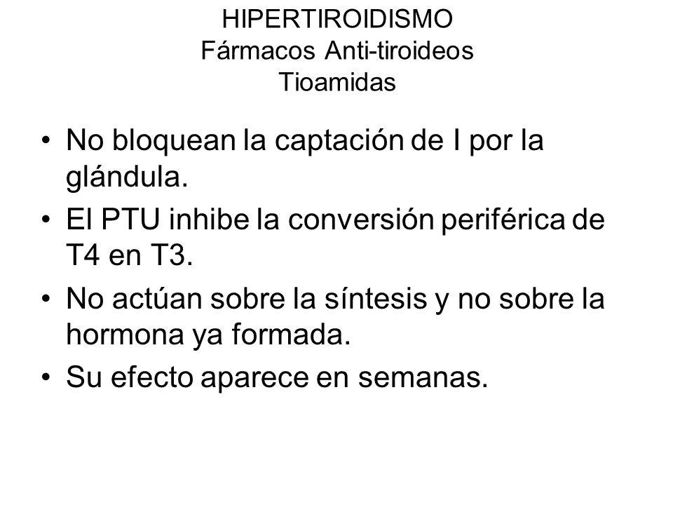 HIPERTIROIDISMO Fármacos Anti-tiroideos Tioamidas Propitiuracilo (PTU).