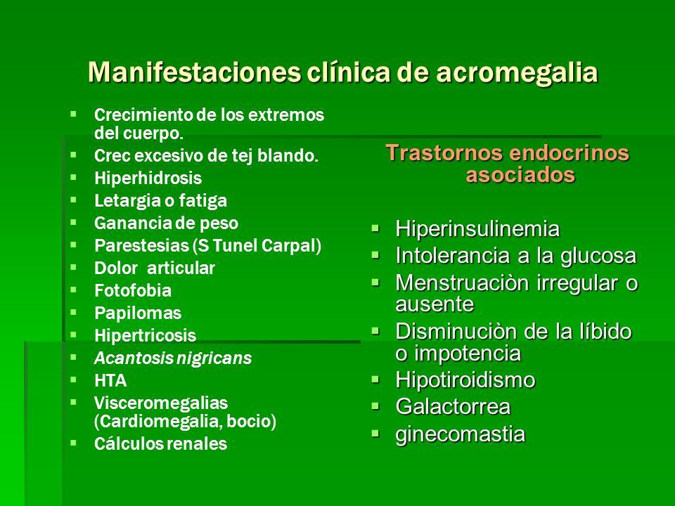Manifestaciones clínica de acromegalia Crecimiento de los extremos del cuerpo. Crec excesivo de tej blando. Hiperhidrosis Letargia o fatiga Ganancia d