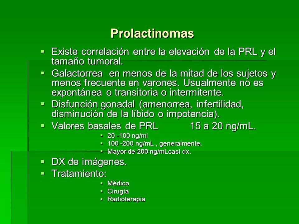 Prolactinomas Existe correlación entre la elevación de la PRL y el tamaño tumoral. Existe correlación entre la elevación de la PRL y el tamaño tumoral