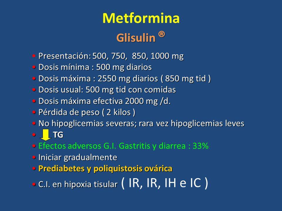 Glisulin ® Metformina Glisulin ® Presentación: 500, 750, 850, 1000 mg Dosis mínima : 500 mg diarios Dosis mínima : 500 mg diarios Dosis máxima : 2550