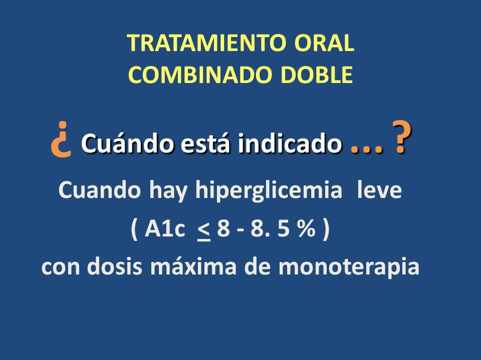 TRATAMIENTO ORAL COMBINADO DOBLE Cuándo está indicado... ? ¿ Cuándo está indicado... ? Cuando hay hiperglicemia leve ( A1c < 8 - 8. 5 % ) con dosis má