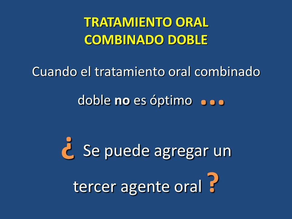 TRATAMIENTO ORAL COMBINADO DOBLE Cuando el tratamiento oral combinado doble no es óptimo... ¿ Se puede agregar un tercer agente oral ?