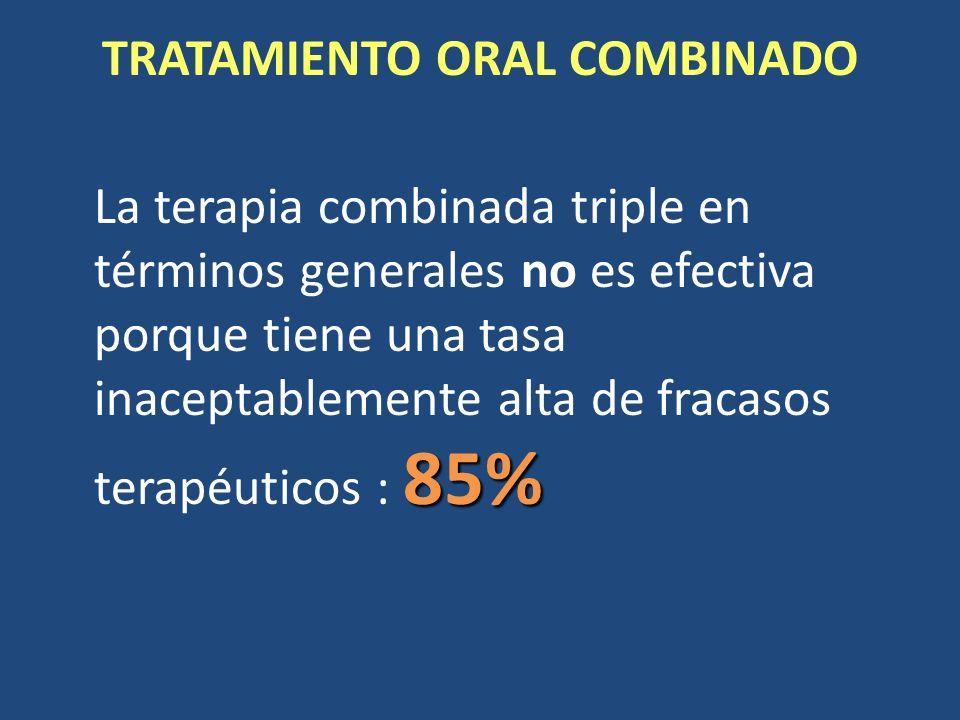 TRATAMIENTO ORAL COMBINADO 85% La terapia combinada triple en términos generales no es efectiva porque tiene una tasa inaceptablemente alta de fracaso