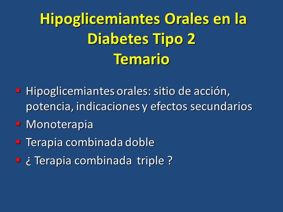 Hipoglicemiantes Orales en la Diabetes Tipo 2 Temario Hipoglicemiantes Orales en la Diabetes Tipo 2 Temario Hipoglicemiantes orales: sitio de acción,