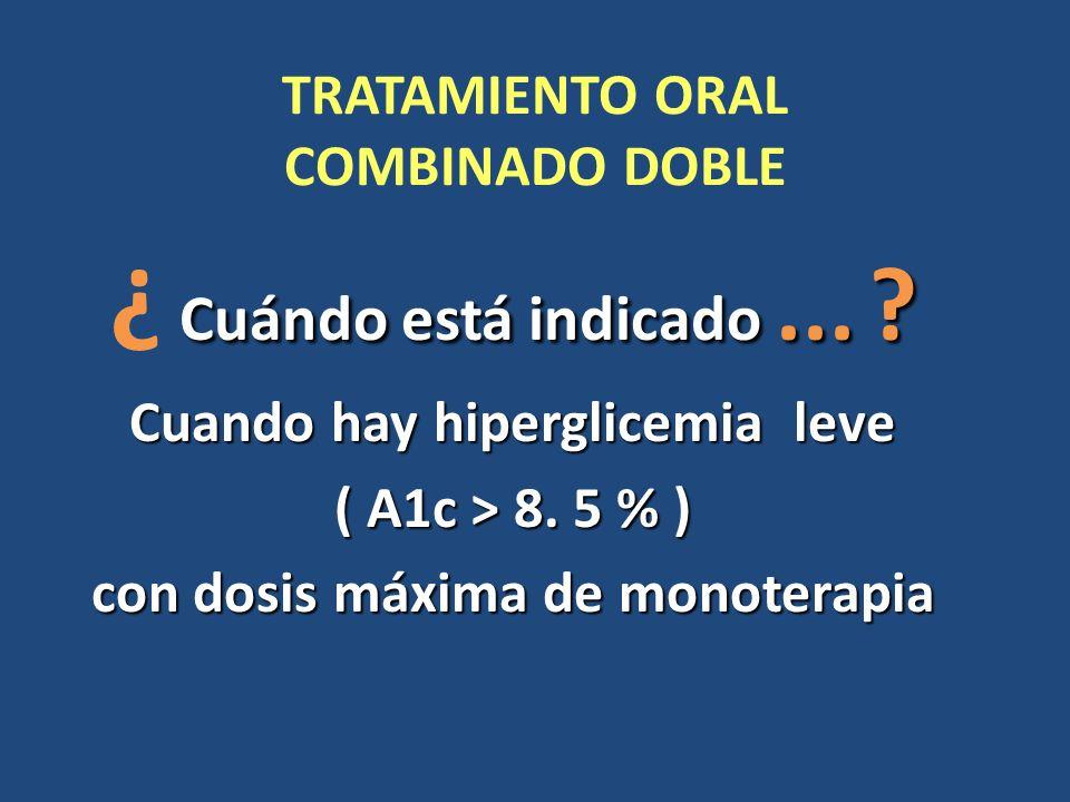 TRATAMIENTO ORAL COMBINADO DOBLE Cuándo está indicado... ? ¿ Cuándo está indicado... ? Cuando hay hiperglicemia leve ( A1c > 8. 5 % ) con dosis máxima