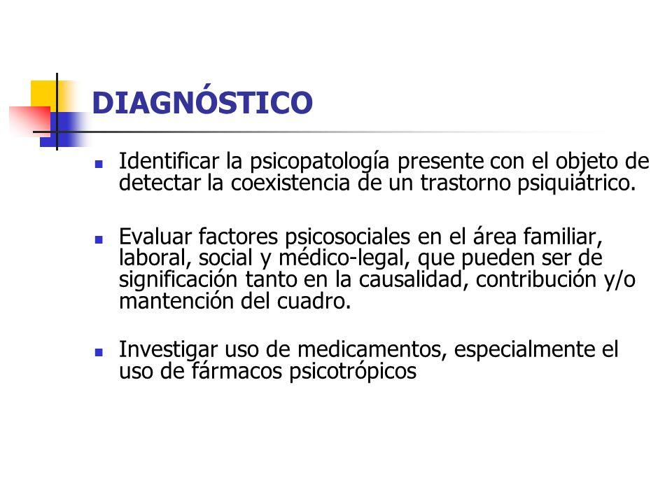 DIAGNÓSTICO Identificar la psicopatología presente con el objeto de detectar la coexistencia de un trastorno psiquiátrico. Evaluar factores psicosocia
