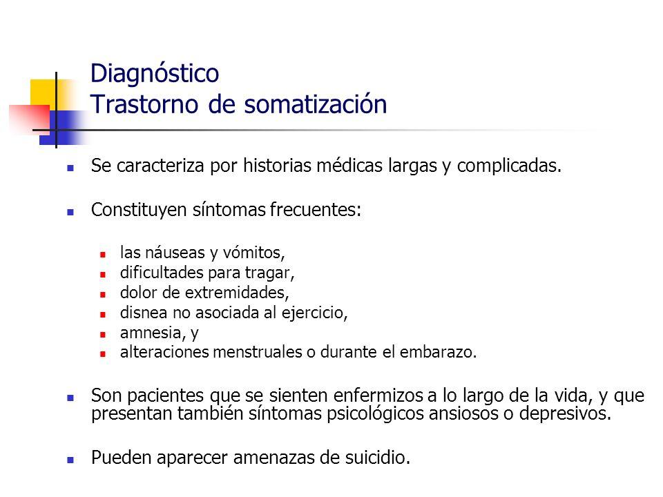 Diagnóstico Trastorno de somatización Se caracteriza por historias médicas largas y complicadas. Constituyen síntomas frecuentes: las náuseas y vómito