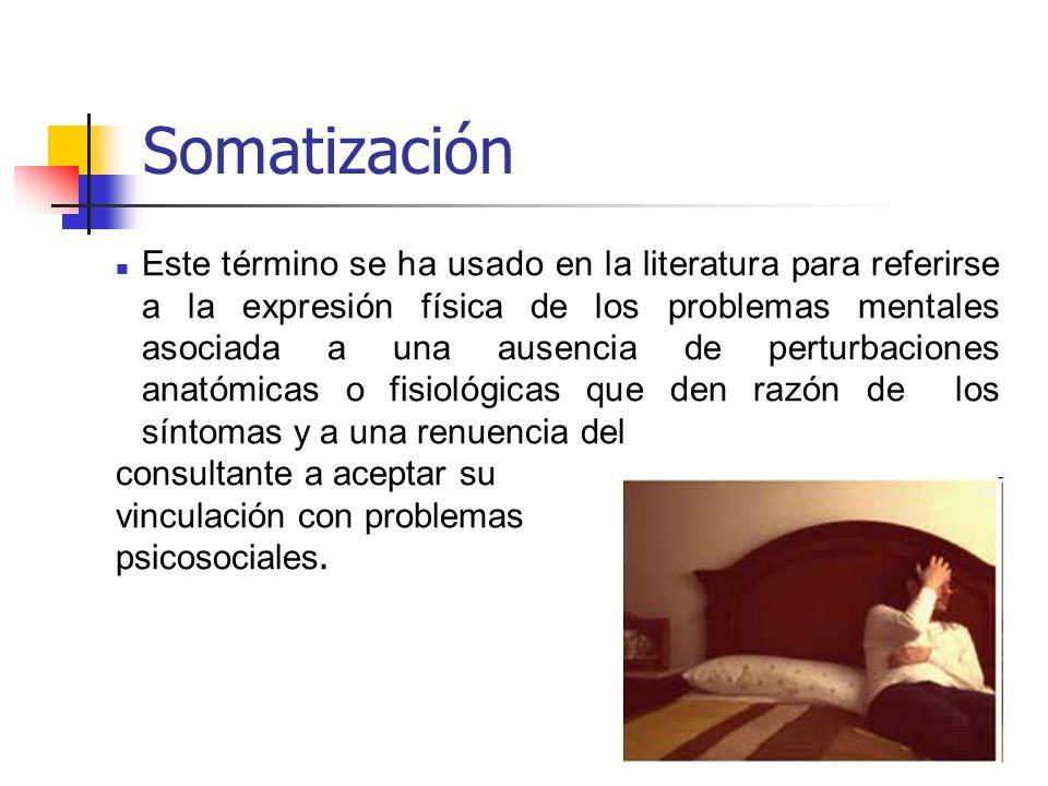 Somatización Este término se ha usado en la literatura para referirse a la expresión física de los problemas mentales asociada a una ausencia de pertu