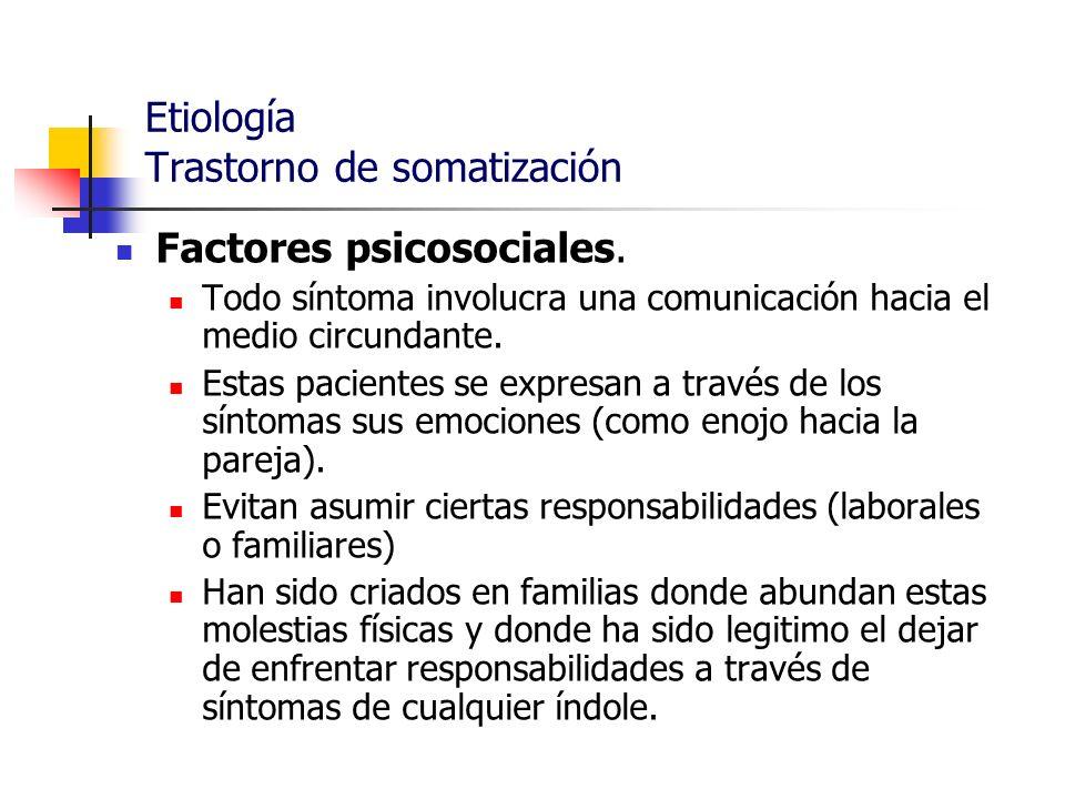 Etiología Trastorno de somatización Factores psicosociales. Todo síntoma involucra una comunicación hacia el medio circundante. Estas pacientes se exp