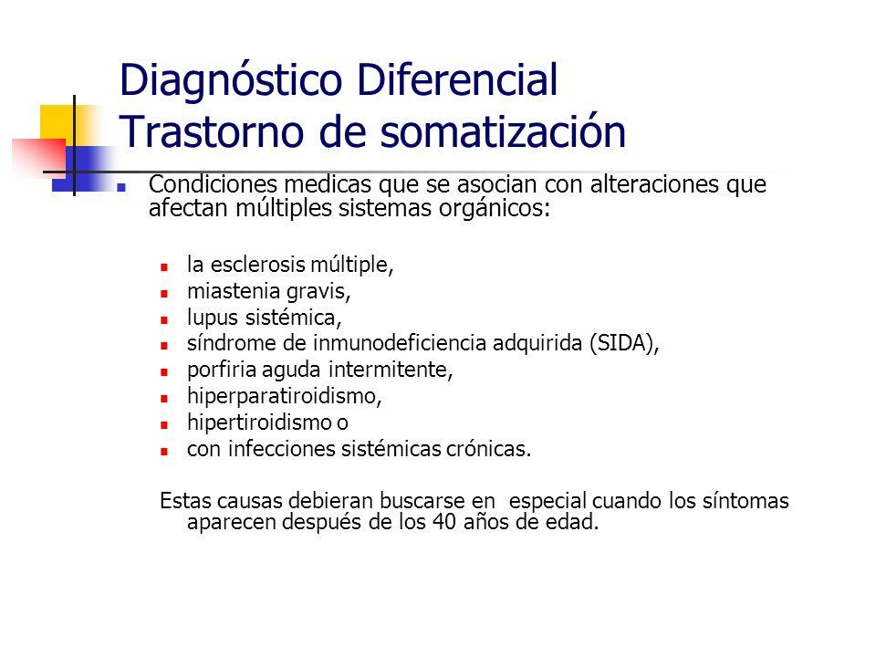 Diagnóstico Diferencial Trastorno de somatización Condiciones medicas que se asocian con alteraciones que afectan múltiples sistemas orgánicos: la esc