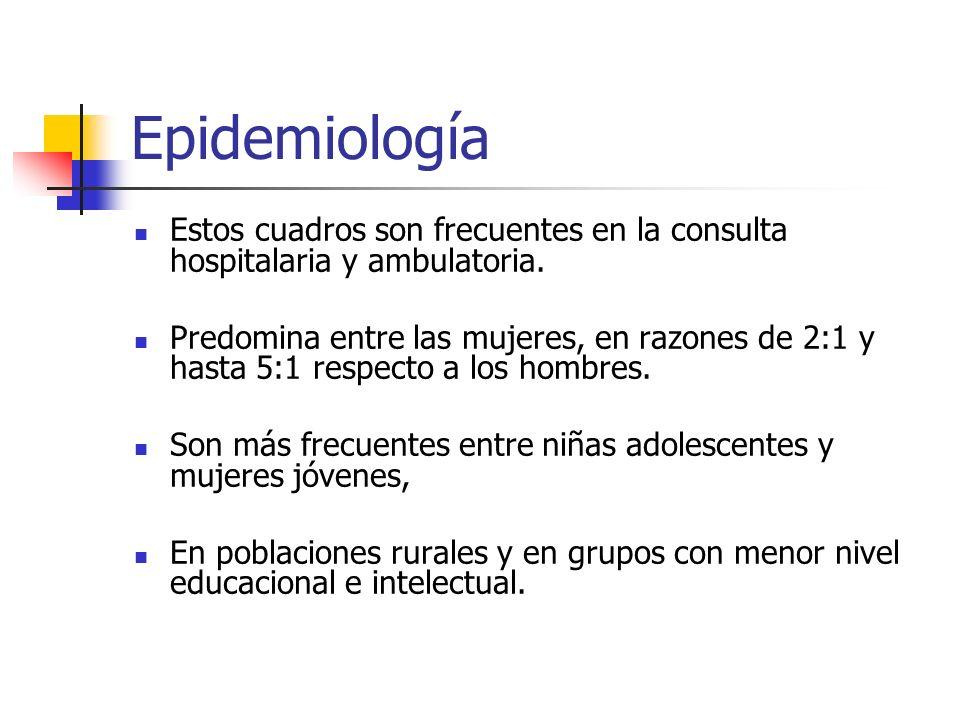 Epidemiología Estos cuadros son frecuentes en la consulta hospitalaria y ambulatoria. Predomina entre las mujeres, en razones de 2:1 y hasta 5:1 respe