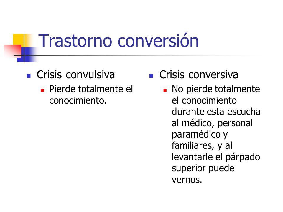 Trastorno conversión Crisis convulsiva Pierde totalmente el conocimiento. Crisis conversiva No pierde totalmente el conocimiento durante esta escucha