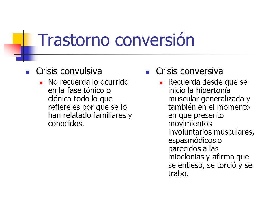 Trastorno conversión Crisis convulsiva No recuerda lo ocurrido en la fase tónico o clónica todo lo que refiere es por que se lo han relatado familiare