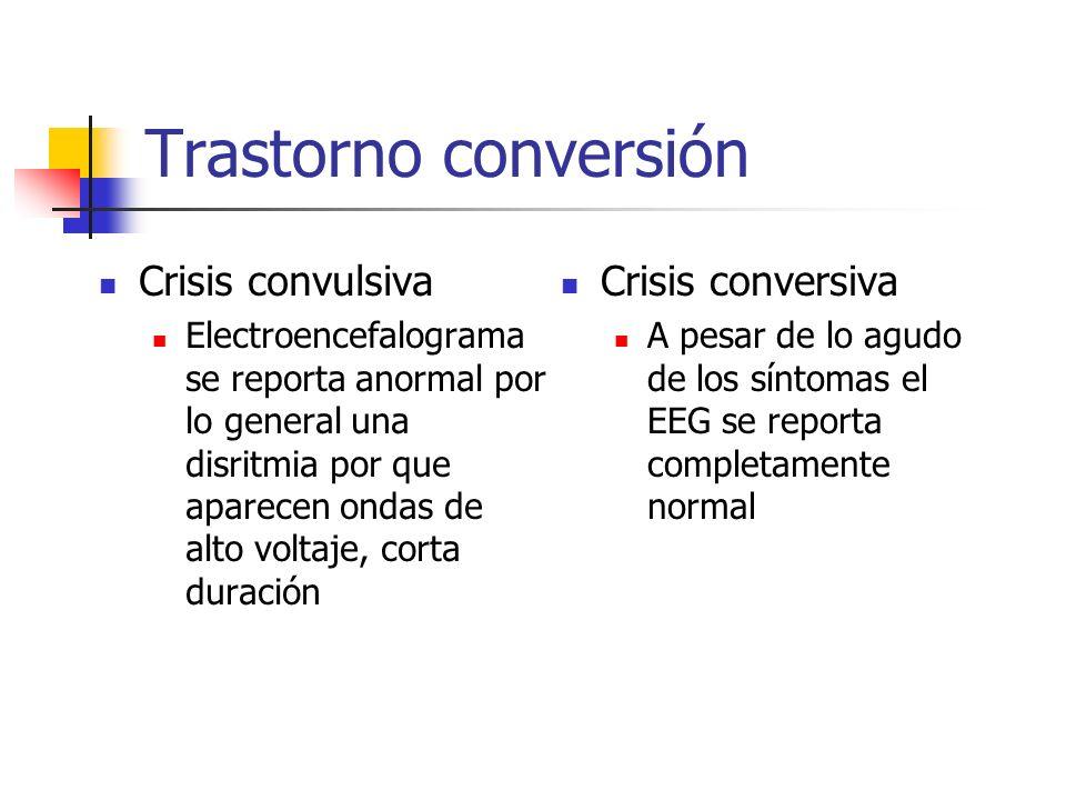 Trastorno conversión Crisis convulsiva Electroencefalograma se reporta anormal por lo general una disritmia por que aparecen ondas de alto voltaje, co