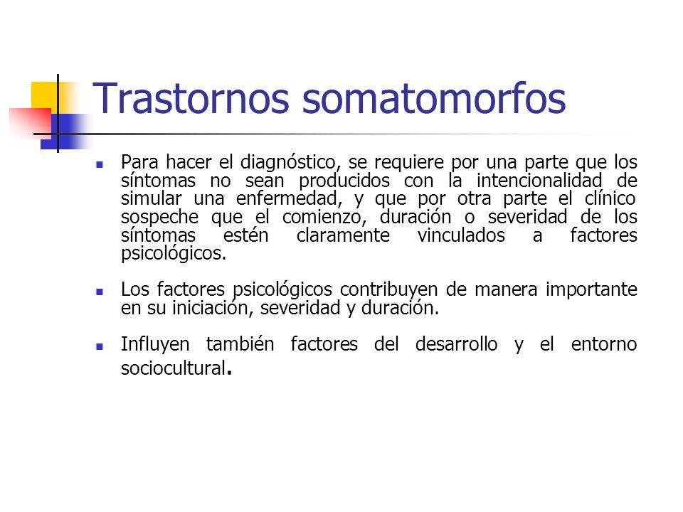 Trastornos somatomorfos Para hacer el diagnóstico, se requiere por una parte que los síntomas no sean producidos con la intencionalidad de simular una