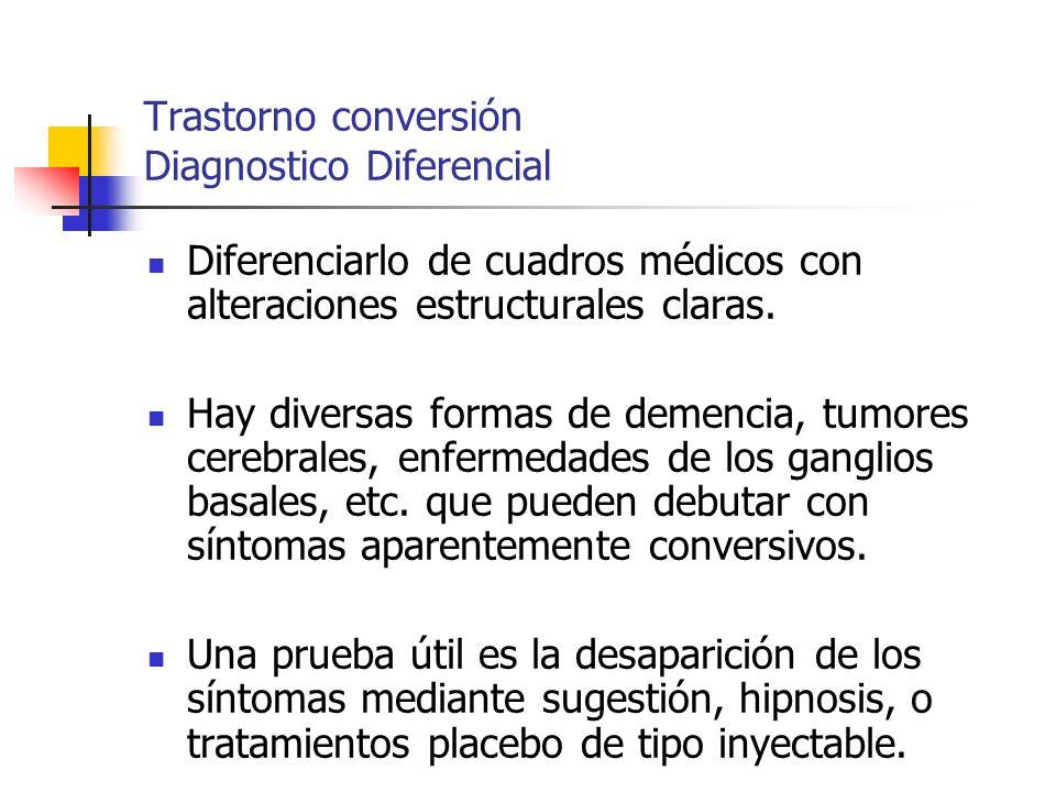 Trastorno conversión Diagnostico Diferencial Diferenciarlo de cuadros médicos con alteraciones estructurales claras. Hay diversas formas de demencia,