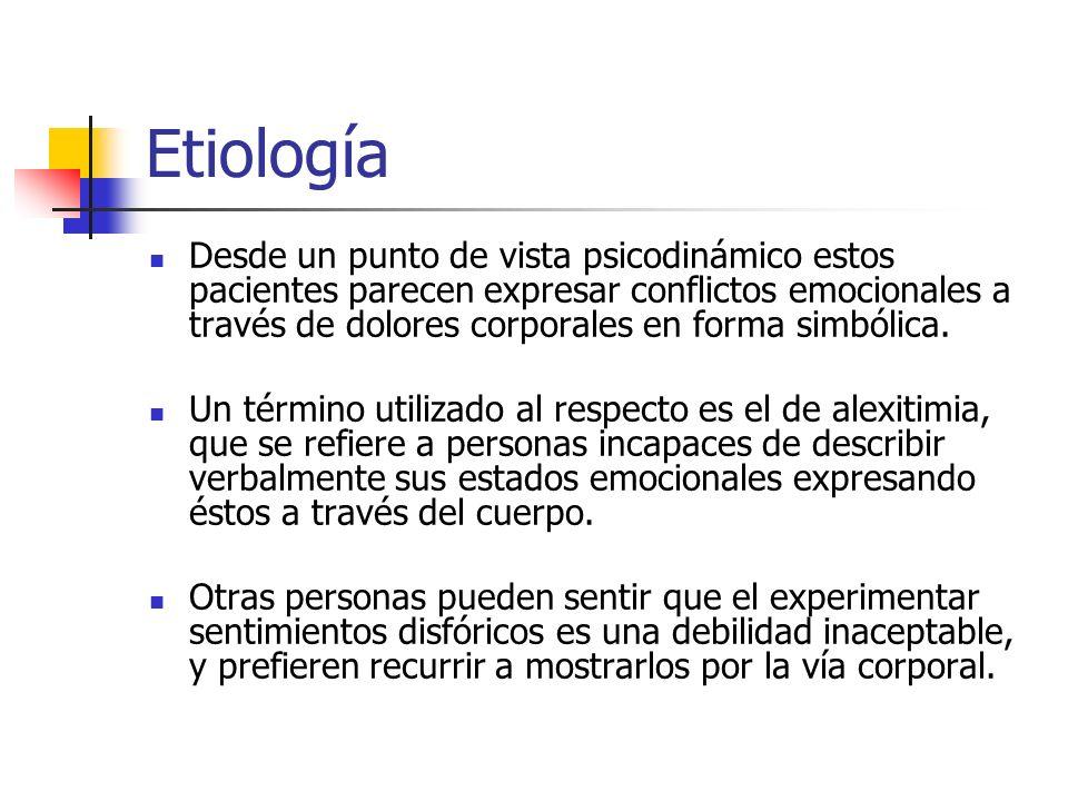 Etiología Desde un punto de vista psicodinámico estos pacientes parecen expresar conflictos emocionales a través de dolores corporales en forma simból