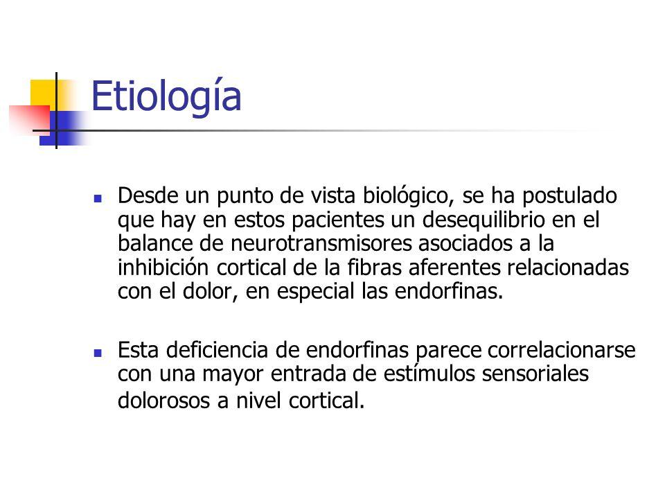 Etiología Desde un punto de vista biológico, se ha postulado que hay en estos pacientes un desequilibrio en el balance de neurotransmisores asociados