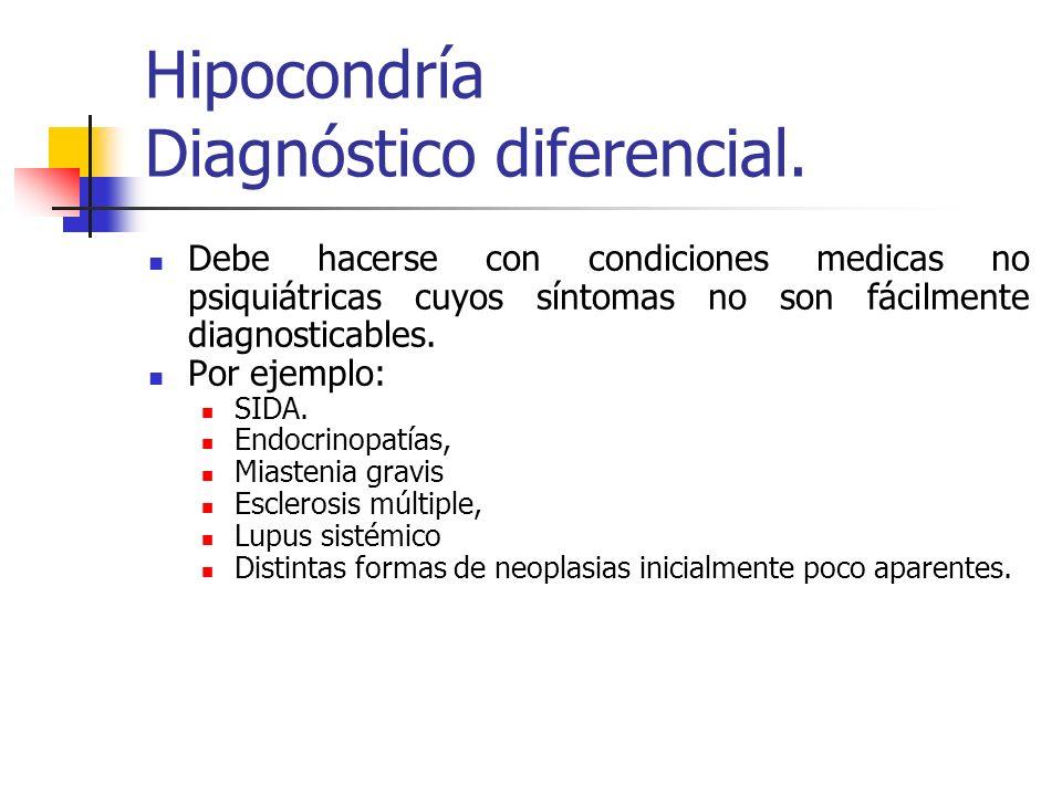 Hipocondría Diagnóstico diferencial. Debe hacerse con condiciones medicas no psiquiátricas cuyos síntomas no son fácilmente diagnosticables. Por ejemp