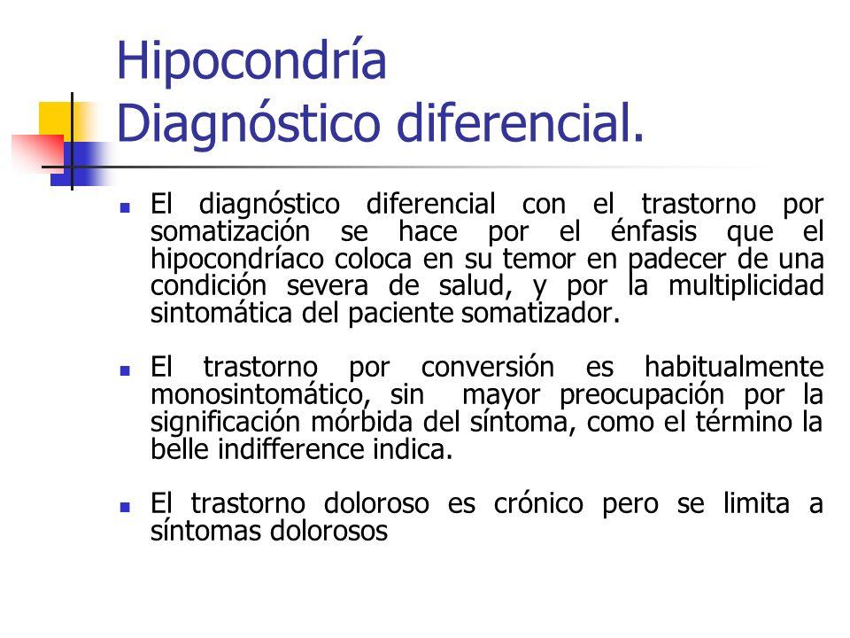 Hipocondría Diagnóstico diferencial. El diagnóstico diferencial con el trastorno por somatización se hace por el énfasis que el hipocondríaco coloca e
