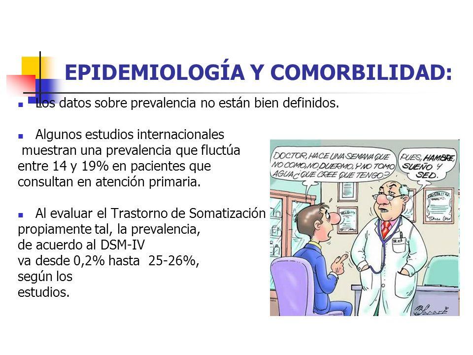 EPIDEMIOLOGÍA Y COMORBILIDAD: Los datos sobre prevalencia no están bien definidos. Algunos estudios internacionales muestran una prevalencia que fluct