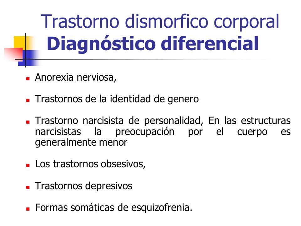 Trastorno dismorfico corporal Diagnóstico diferencial Anorexia nerviosa, Trastornos de la identidad de genero Trastorno narcisista de personalidad, En