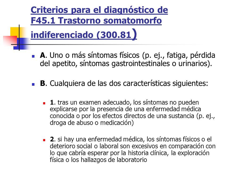Criterios para el diagnóstico de F45.1 Trastorno somatomorfo indiferenciado (300.81 ) A. Uno o más síntomas físicos (p. ej., fatiga, pérdida del apeti