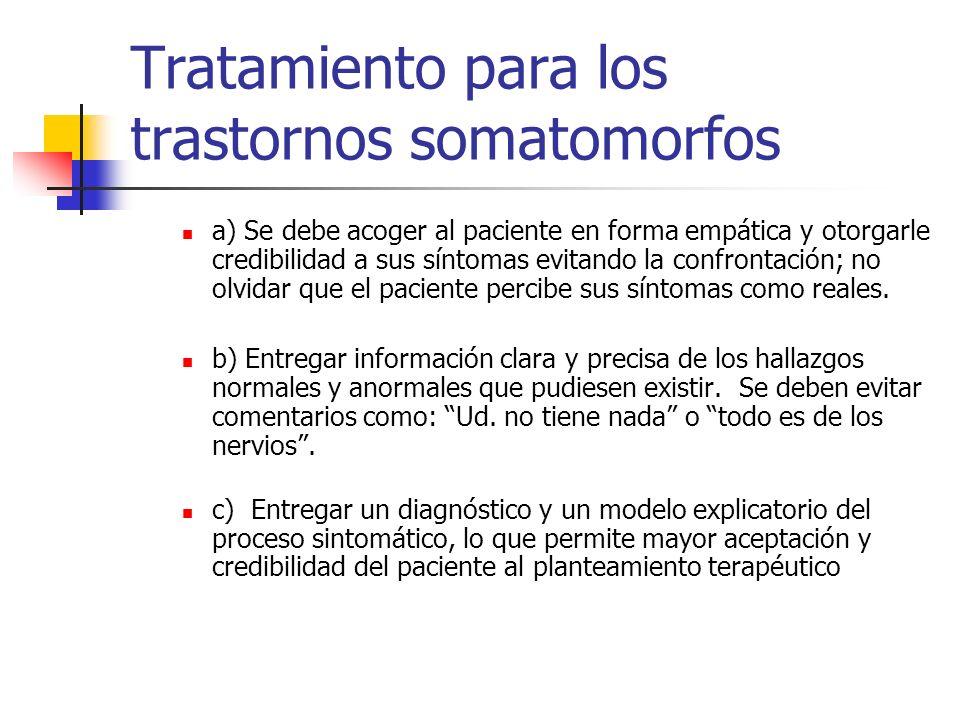Tratamiento para los trastornos somatomorfos a) Se debe acoger al paciente en forma empática y otorgarle credibilidad a sus síntomas evitando la confr