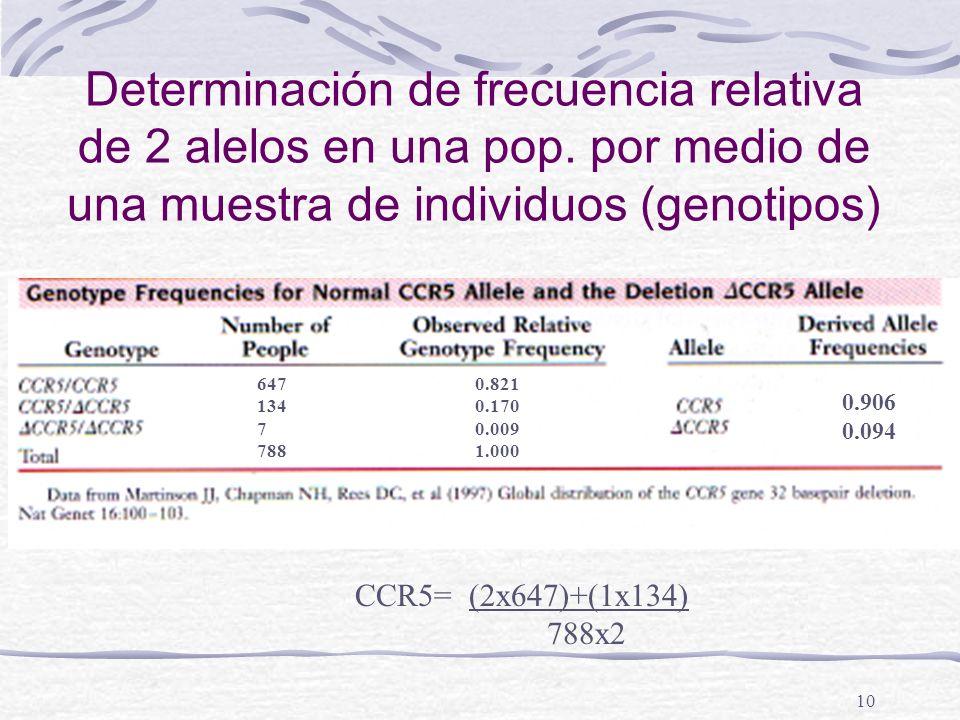 10 Determinación de frecuencia relativa de 2 alelos en una pop. por medio de una muestra de individuos (genotipos) 0.821 0.170 0.009 1.000 0.906 0.094