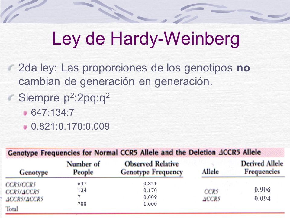 13 Ley de Hardy-Weinberg 2da ley: Las proporciones de los genotipos no cambian de generación en generación. Siempre p 2 :2pq:q 2 647:134:7 0.821:0.170