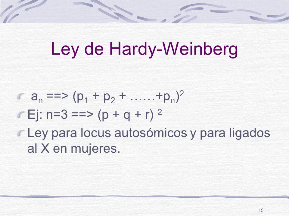 16 Ley de Hardy-Weinberg a n ==> (p 1 + p 2 + ……+p n ) 2 Ej: n=3 ==> (p + q + r) 2 Ley para locus autosómicos y para ligados al X en mujeres.
