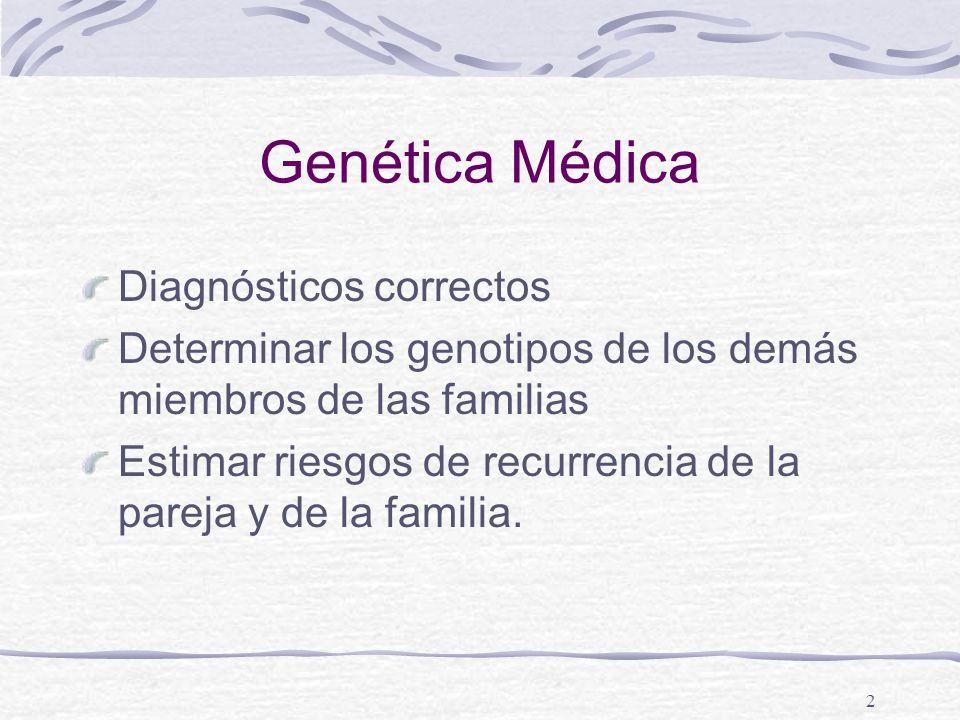 2 Genética Médica Diagnósticos correctos Determinar los genotipos de los demás miembros de las familias Estimar riesgos de recurrencia de la pareja y