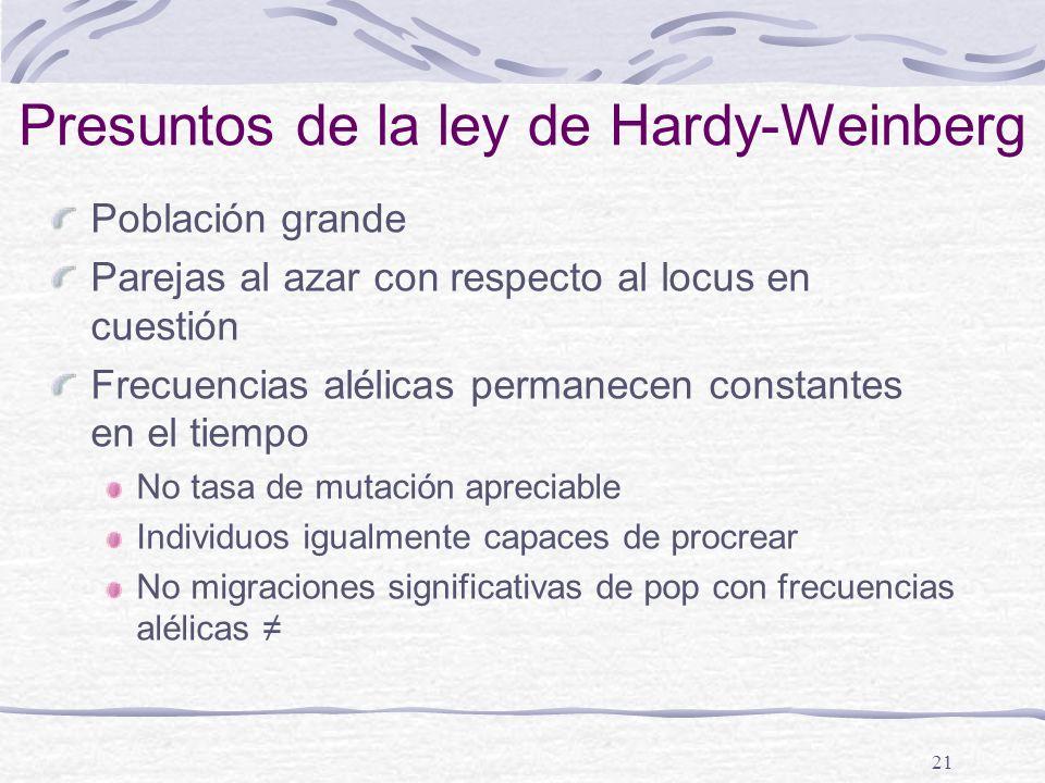 21 Presuntos de la ley de Hardy-Weinberg Población grande Parejas al azar con respecto al locus en cuestión Frecuencias alélicas permanecen constantes