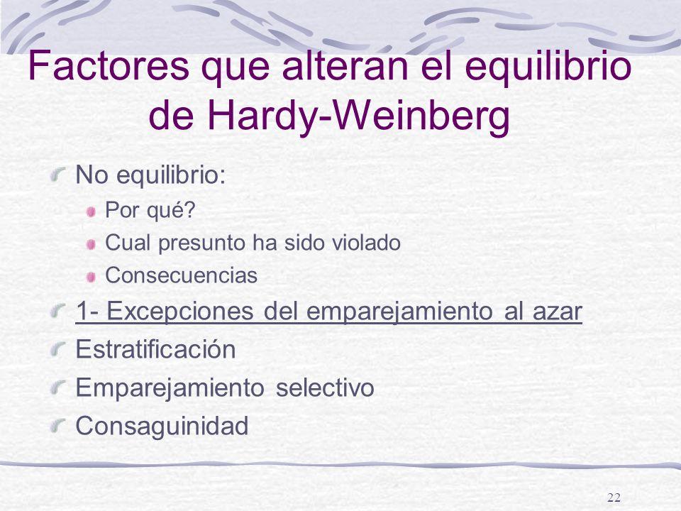 22 Factores que alteran el equilibrio de Hardy-Weinberg No equilibrio: Por qué? Cual presunto ha sido violado Consecuencias 1- Excepciones del emparej