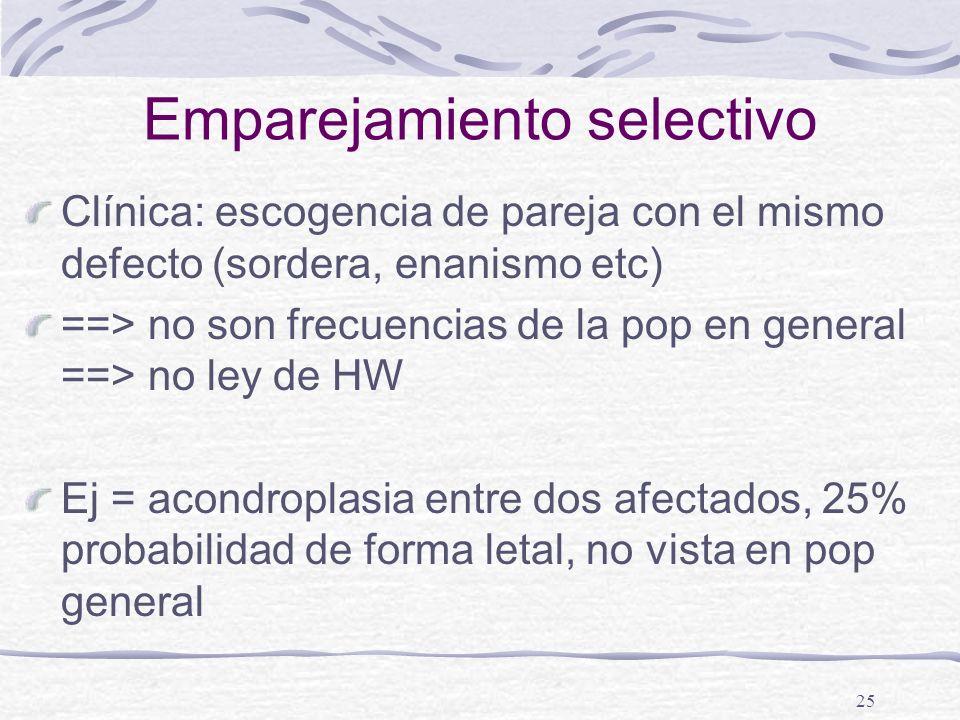 25 Emparejamiento selectivo Clínica: escogencia de pareja con el mismo defecto (sordera, enanismo etc) ==> no son frecuencias de la pop en general ==>