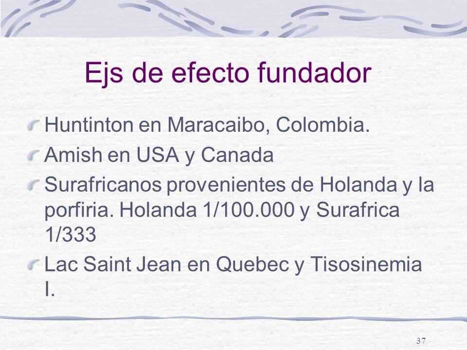 37 Ejs de efecto fundador Huntinton en Maracaibo, Colombia. Amish en USA y Canada Surafricanos provenientes de Holanda y la porfiria. Holanda 1/100.00