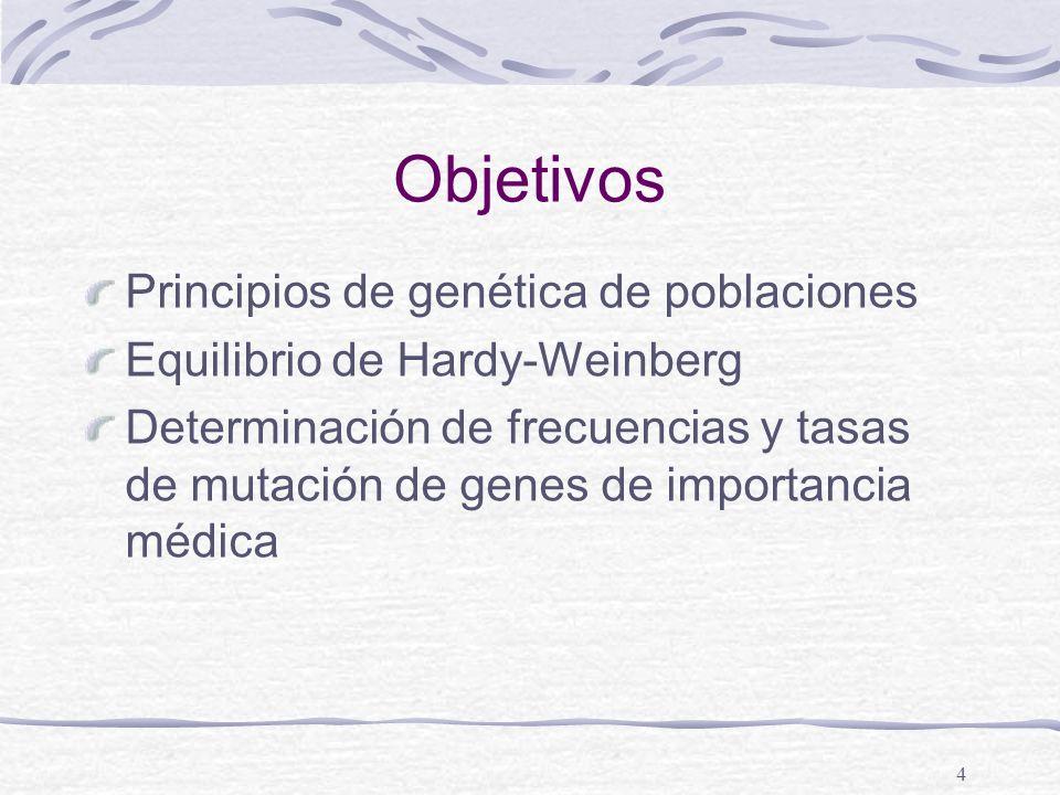 4 Objetivos Principios de genética de poblaciones Equilibrio de Hardy-Weinberg Determinación de frecuencias y tasas de mutación de genes de importanci