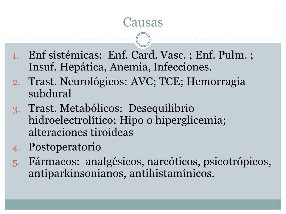 Causas 1. Enf sistémicas: Enf. Card. Vasc. ; Enf. Pulm. ; Insuf. Hepática, Anemia, Infecciones. 2. Trast. Neurológicos: AVC; TCE; Hemorragia subdural