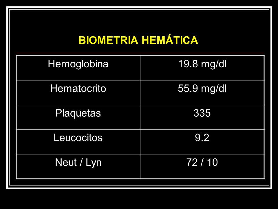 Hemoglobina19.8 mg/dl Hematocrito55.9 mg/dl Plaquetas335 Leucocitos9.2 Neut / Lyn72 / 10 BIOMETRIA HEMÁTICA