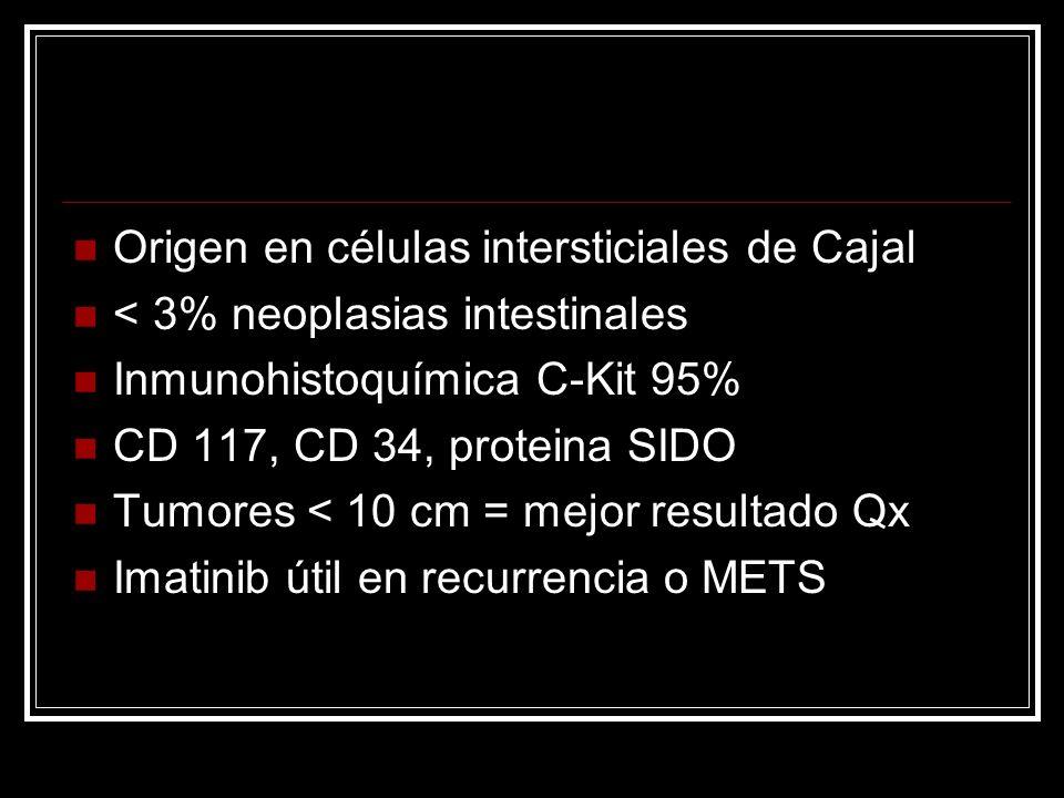Origen en células intersticiales de Cajal < 3% neoplasias intestinales Inmunohistoquímica C-Kit 95% CD 117, CD 34, proteina SIDO Tumores < 10 cm = mej
