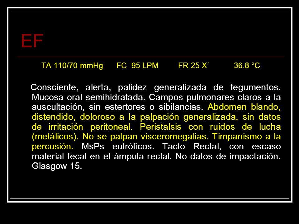EF TA 110/70 mmHg FC 95 LPM FR 25 X´ 36.8 °C Consciente, alerta, palidez generalizada de tegumentos. Mucosa oral semihidratada. Campos pulmonares clar