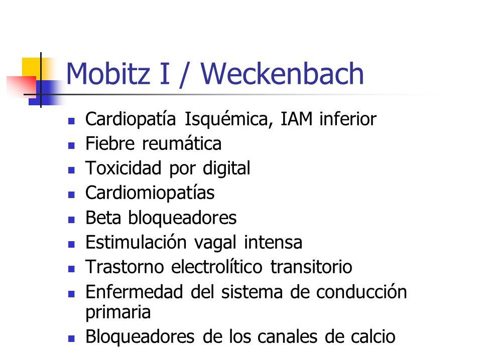 Mobitz I / Weckenbach Cardiopatía Isquémica, IAM inferior Fiebre reumática Toxicidad por digital Cardiomiopatías Beta bloqueadores Estimulación vagal
