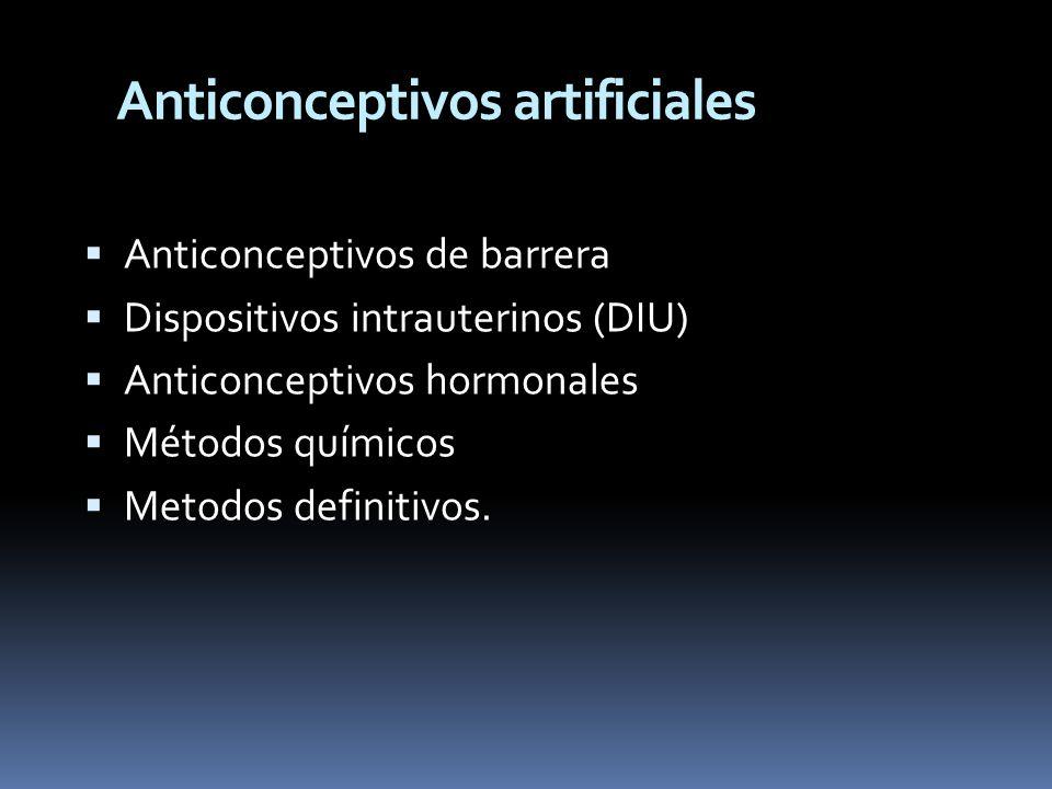 Anticonceptivos artificiales Anticonceptivos de barrera Dispositivos intrauterinos (DIU) Anticonceptivos hormonales Métodos químicos Metodos definitiv
