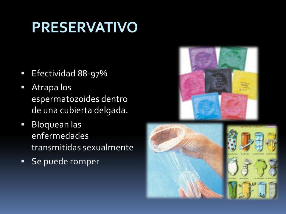 PRESERVATIVO Efectividad 88-97% Atrapa los espermatozoides dentro de una cubierta delgada. Bloquean las enfermedades transmitidas sexualmente Se puede