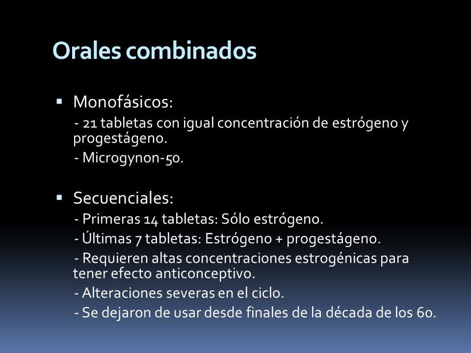 Monofásicos: - 21 tabletas con igual concentración de estrógeno y progestágeno. - Microgynon-50. Secuenciales: - Primeras 14 tabletas: Sólo estrógeno.
