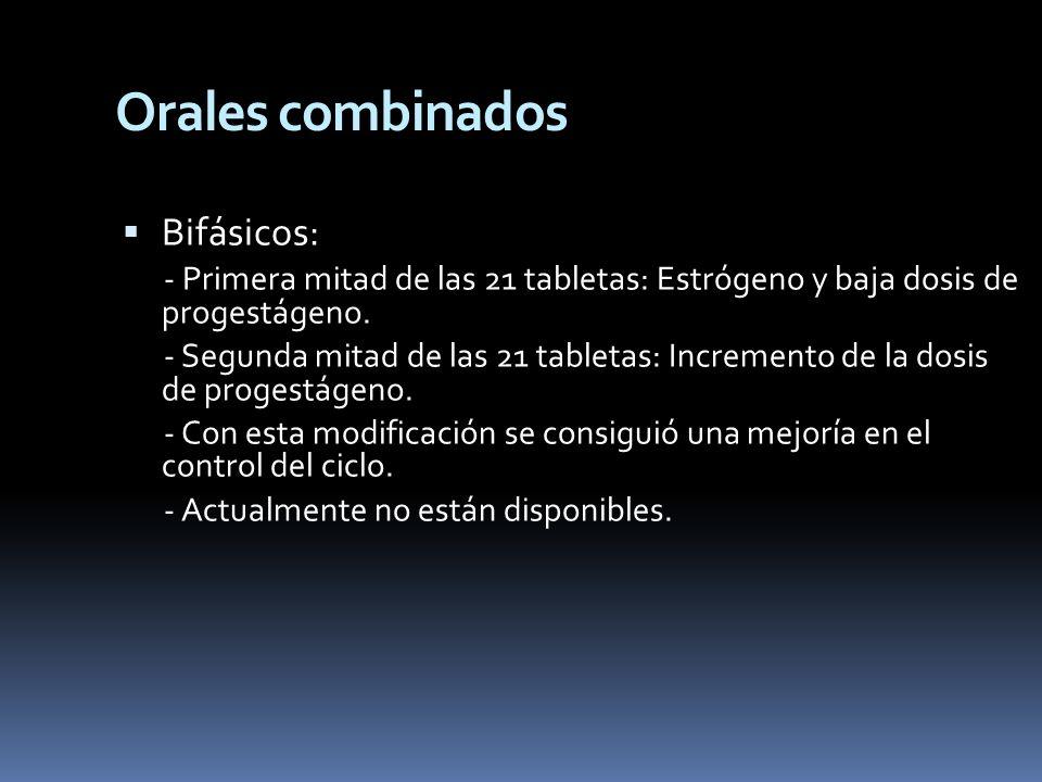 Bifásicos: - Primera mitad de las 21 tabletas: Estrógeno y baja dosis de progestágeno. - Segunda mitad de las 21 tabletas: Incremento de la dosis de p
